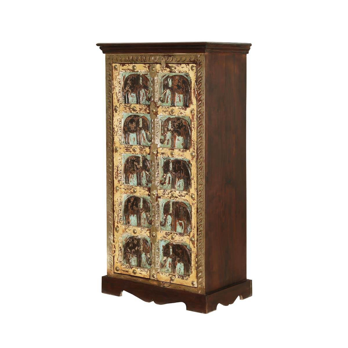 Rustic Gothic Mango Wood 50u201d Double Door Armoire Cabinet