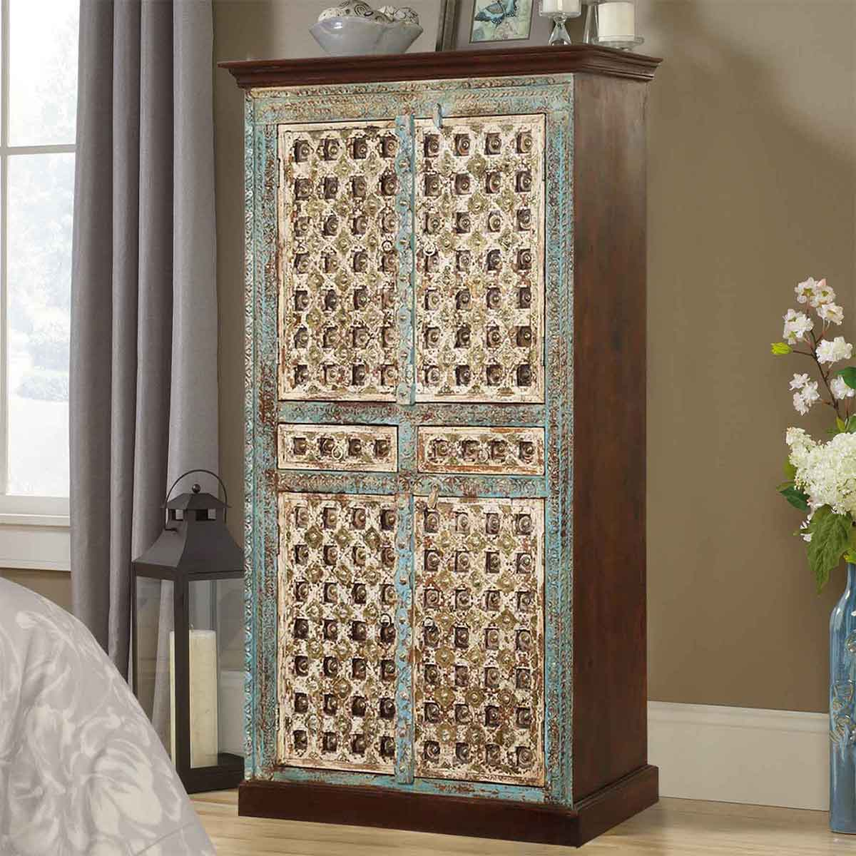 Forgotten Empire Mango Wood Handcrafted Brass Inlay 2 Drawer Armoire