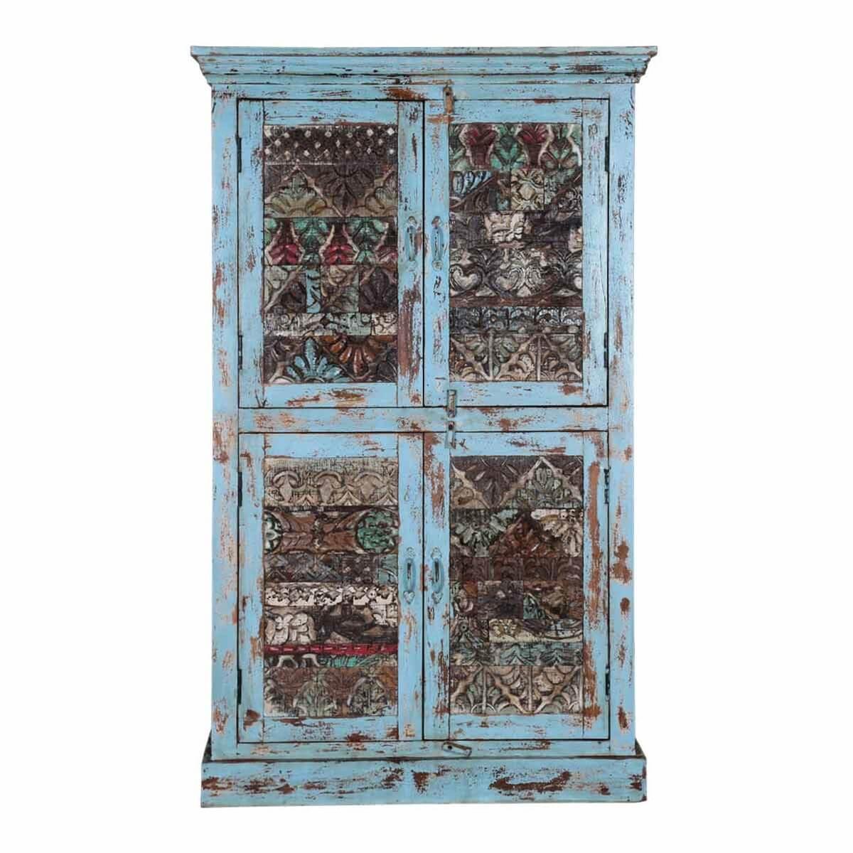 Bancroft Distressed Solid Wood 4 Door Rustic Armoire