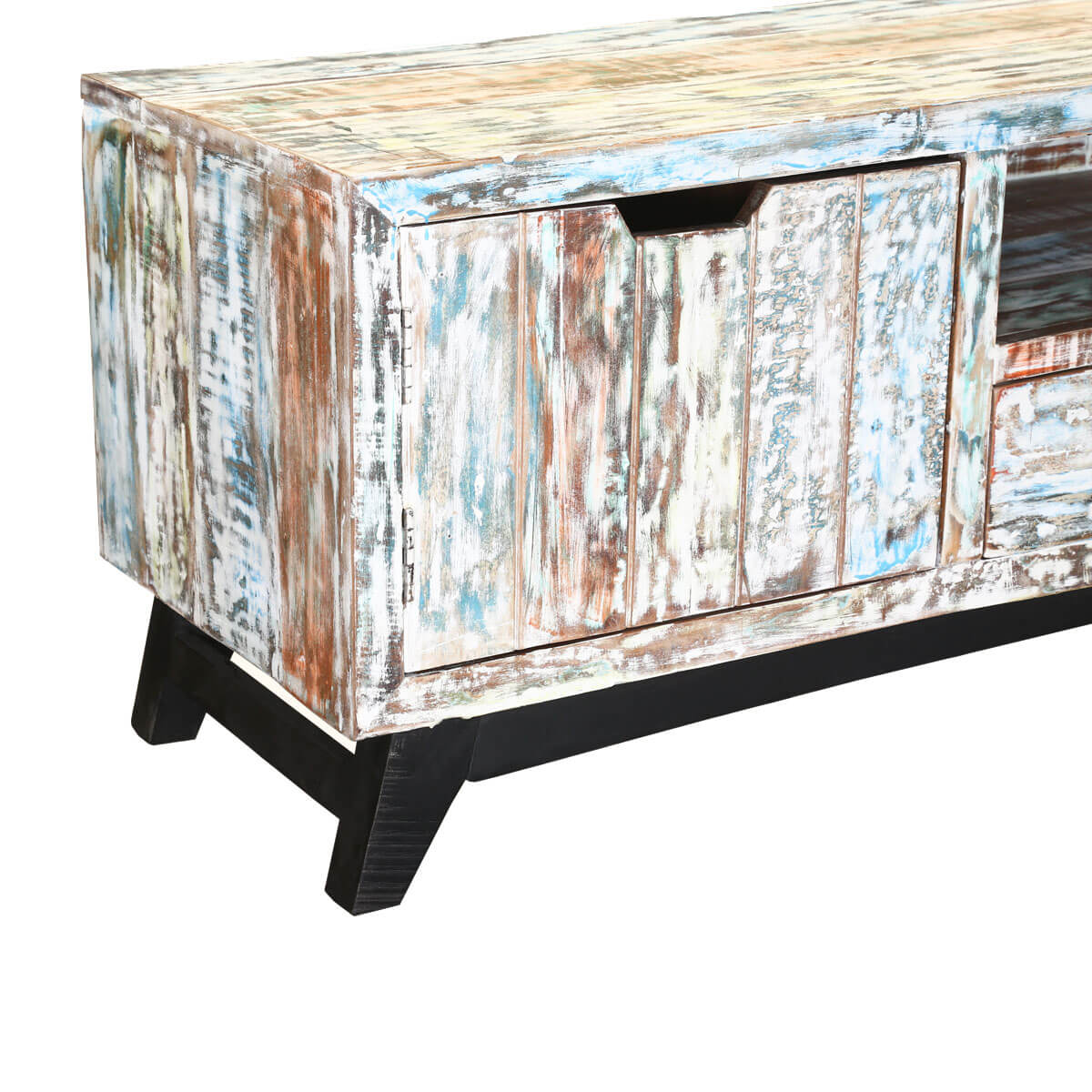 Tucson Handcrafted Two Drawer Reclaimed Wood Rustic TV Stand - Handcrafted Two Drawer Reclaimed Wood Rustic TV Stand