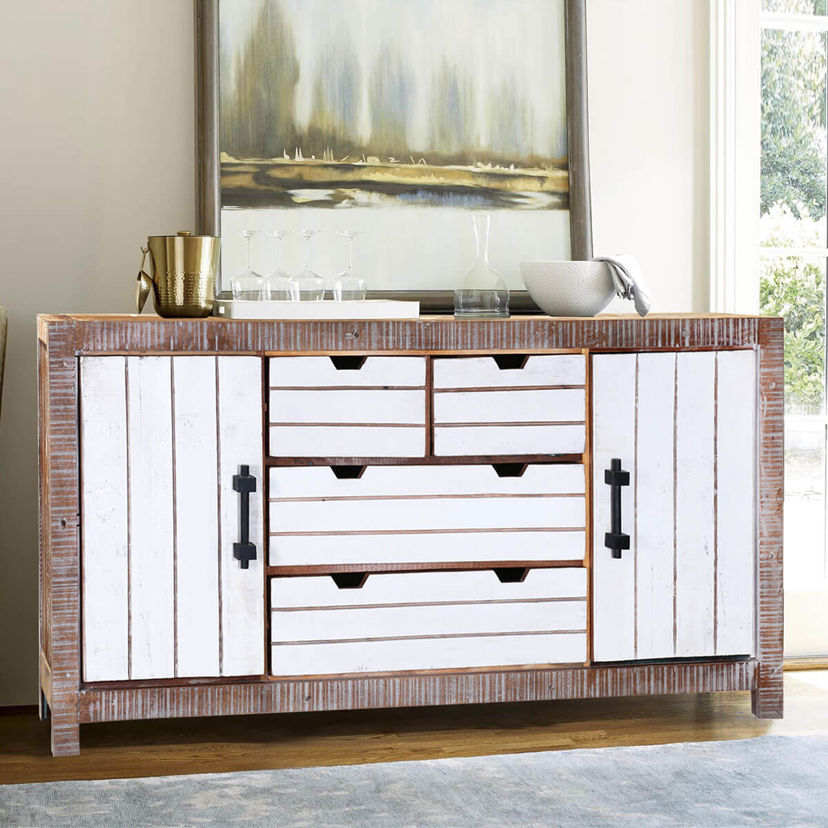 """Modern 69"""" Distressed Reclaimed Wood Free standing Buffet Cabinet - Tucson 72"""