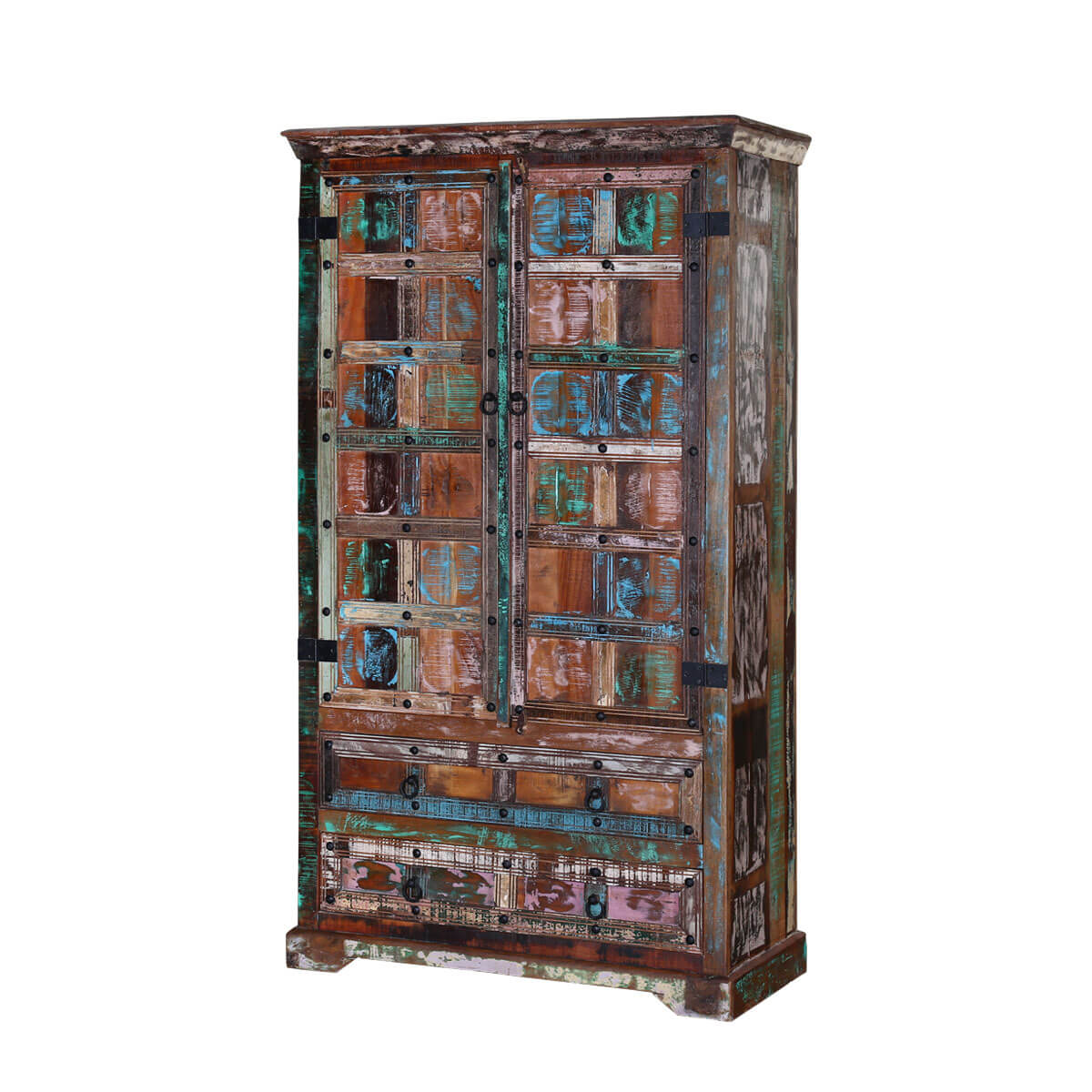 Rustic Color Patches Reclaimed Wood Armoire Storage Cabinet - Color Patches Reclaimed Wood Armoire Storage Cabinet