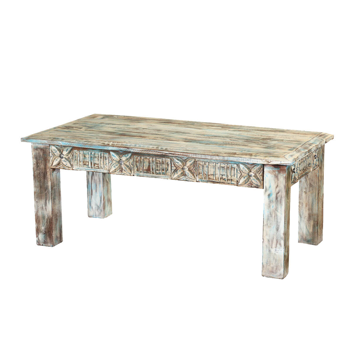 Winter white reclaimed wood hand carved 43 coffee table for White wood coffee table