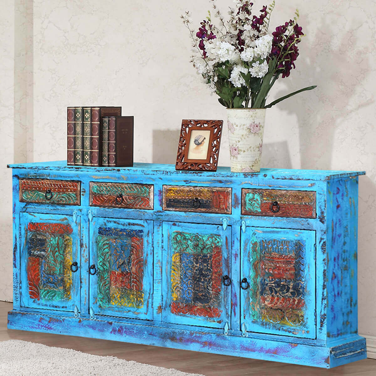 Distressed Wood Buffet ~ Appalachian distressed blue reclaimed wood drawer