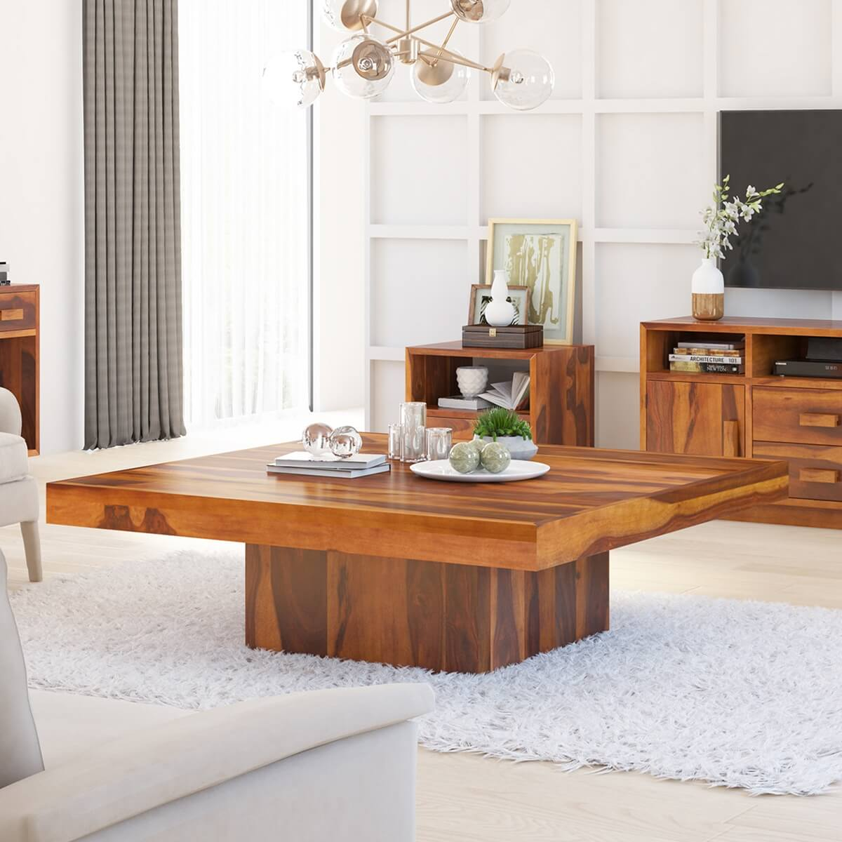 Modern Midnight 55 Square Pedestal Rustic Coffee Table