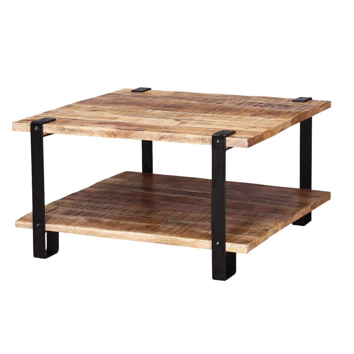 Roxborough Rustic Industrial Square Coffee Table With Saw Marks