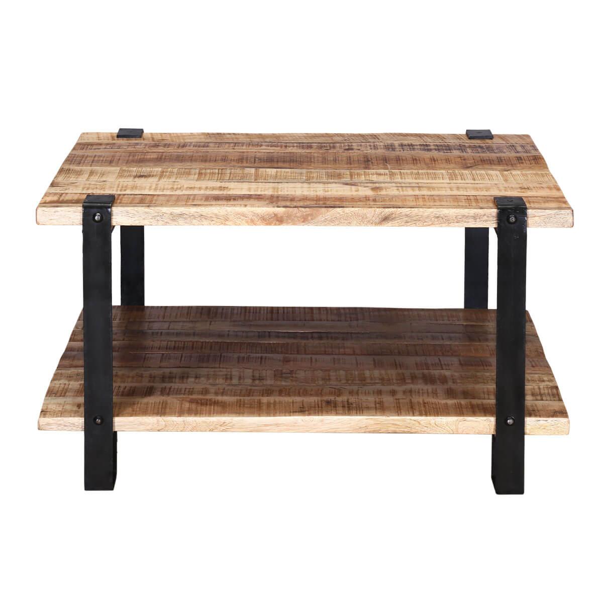 Roxborough Rustic Industrial Square Coffee Table With Saw Marks - Rustic Industrial Square Coffee Table With Saw Marks