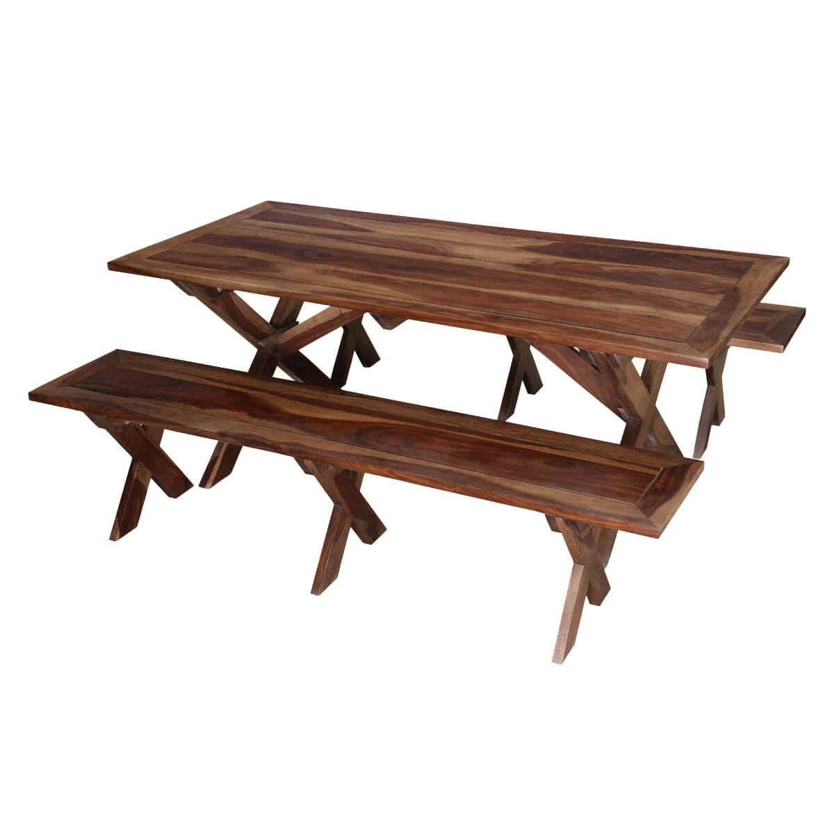 Traditional american picnic style rustic dining table with for Traditional dining table with bench