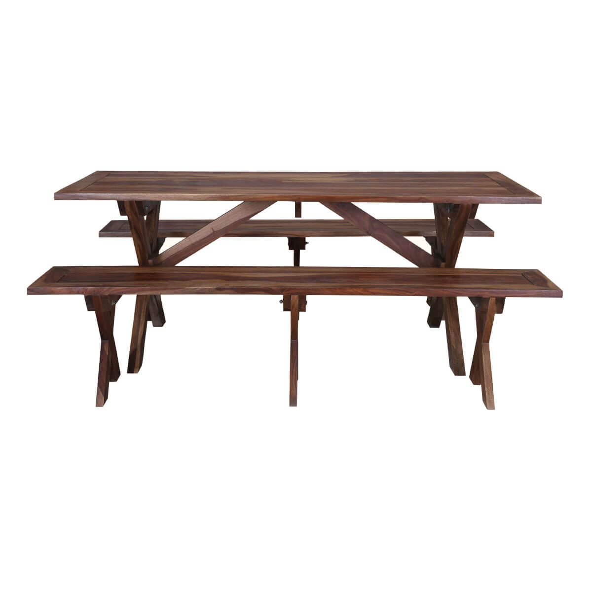 traditional american picnic style rustic dining table with bench. Black Bedroom Furniture Sets. Home Design Ideas