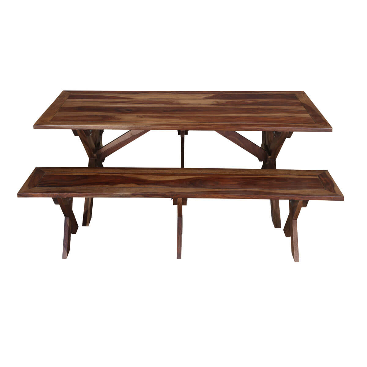 Traditional american picnic style rustic dining table with for Traditional dining table