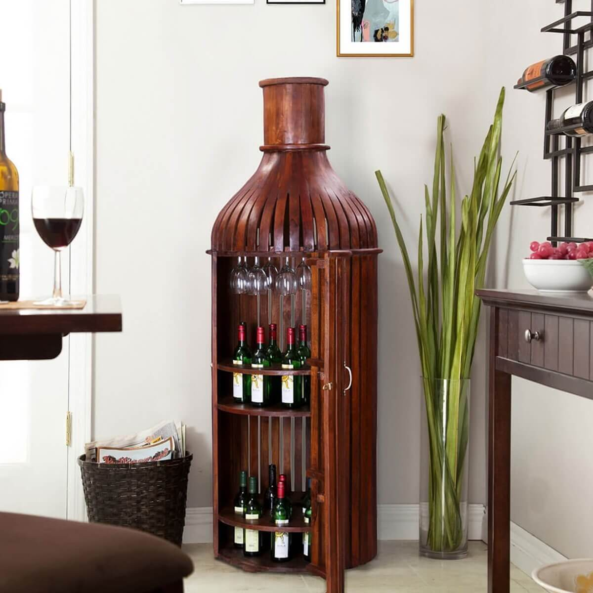 Bordeaux handcrafted solid wood wine bottle storage bar cabinet - Wine rack shaped like wine bottle ...