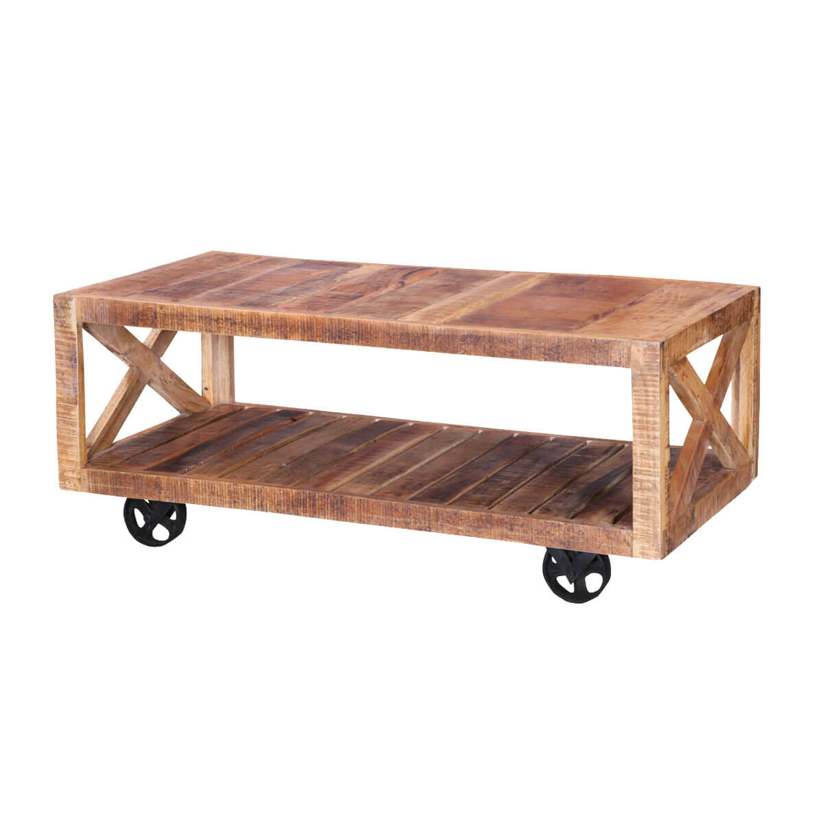 Colorado 47 Handcrafted Solid Wood Wheeled Industrial