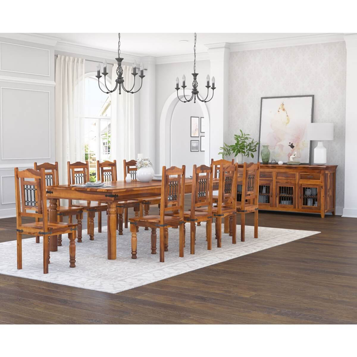 San Francisco Handcrafted Solid Wood 13 Piece Dining Room Set