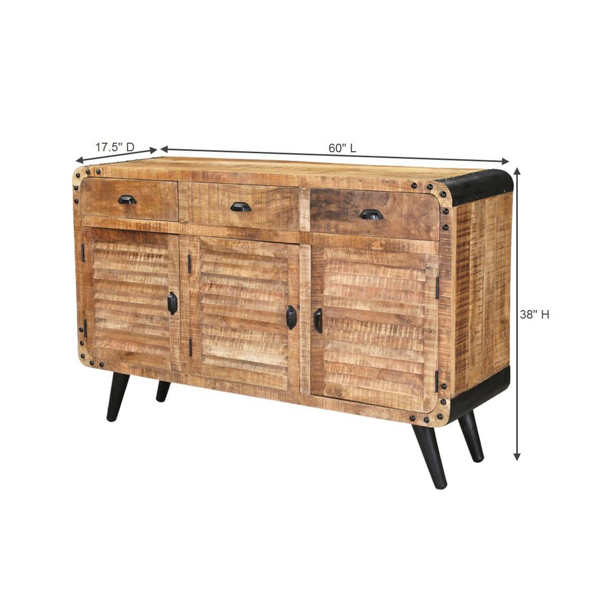 alger retro style rustic mango wood 3 drawer industrial. Black Bedroom Furniture Sets. Home Design Ideas