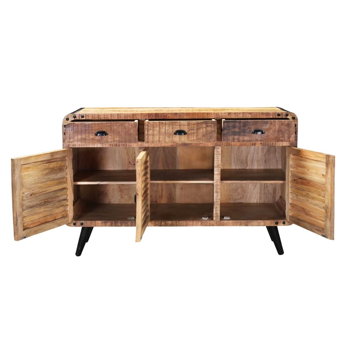 alger retro style rustic mango wood 3 drawer industrial sideboard. Black Bedroom Furniture Sets. Home Design Ideas