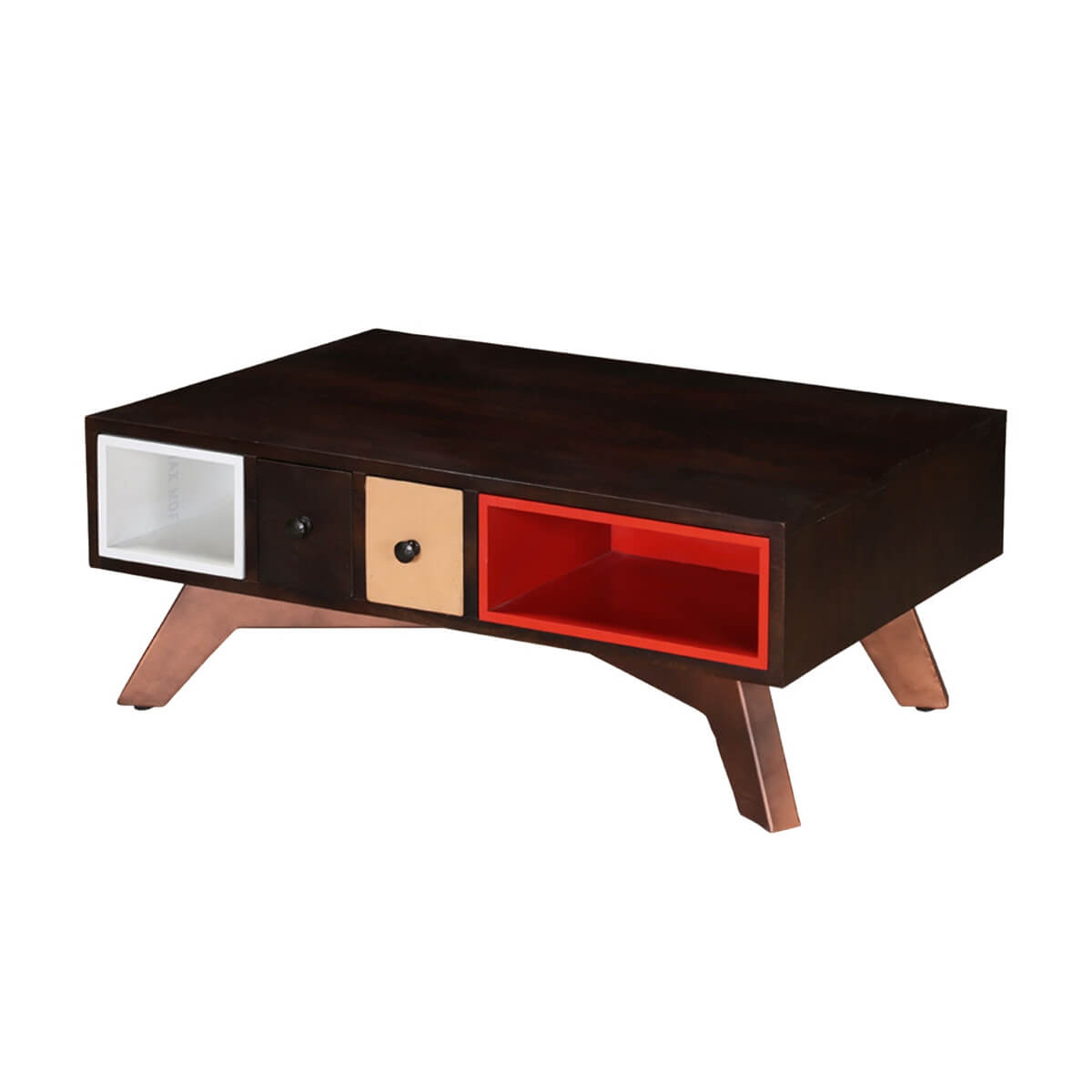 Modern colors mango wood coffee table w drawers cubbies