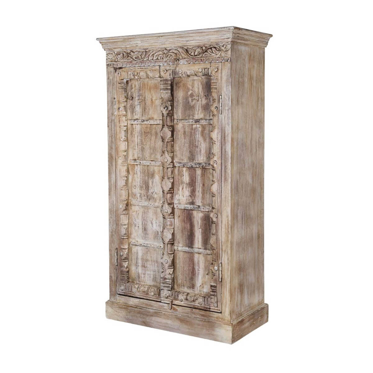 Rustic Antique White Kitchen Cabinets: Antique White Rustic Solid Reclaimed Wood 2 Door Tall