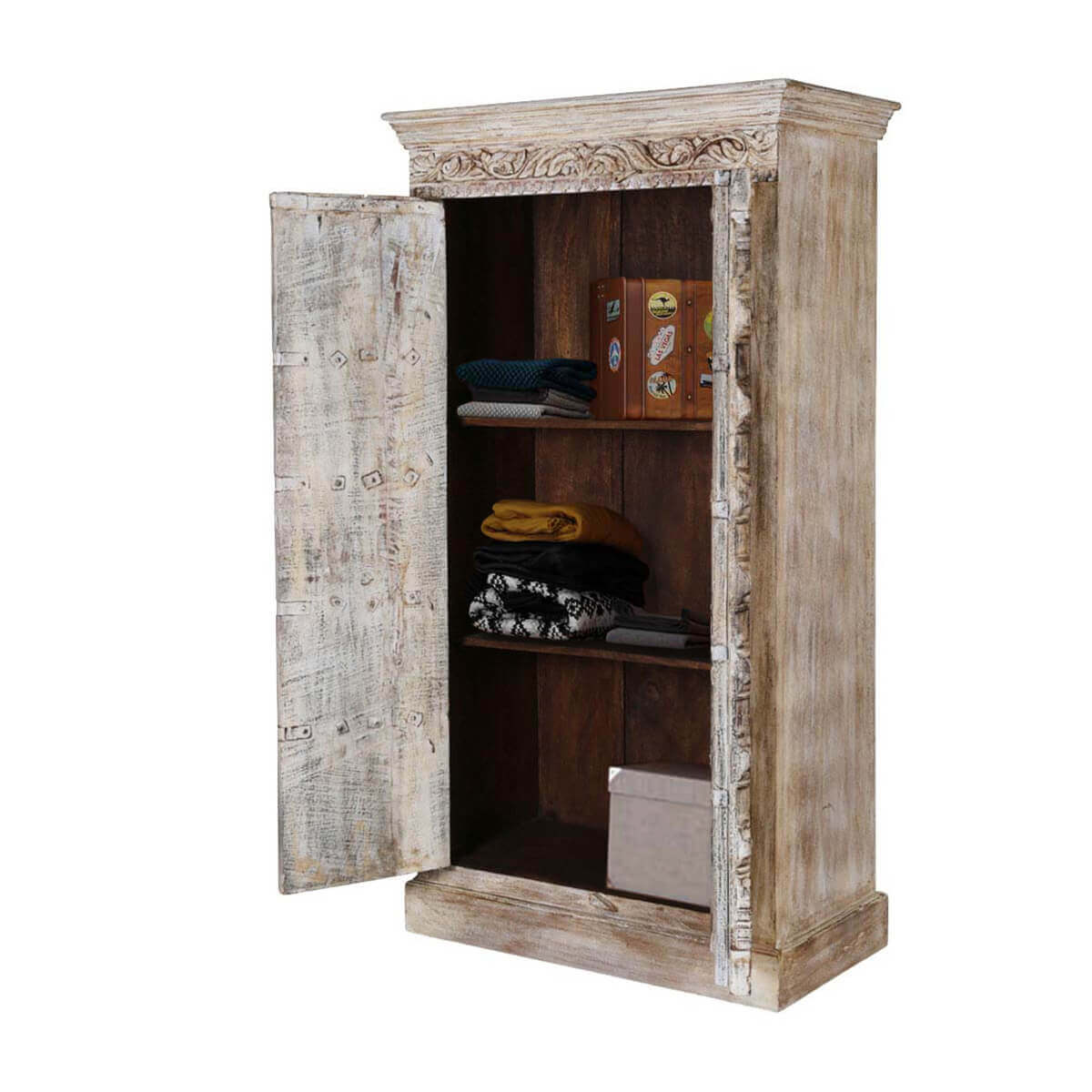 sc 1 st  Sierra Living Concepts & Antique White Rustic Solid Reclaimed Wood 2 Door Tall Storage Cabinet