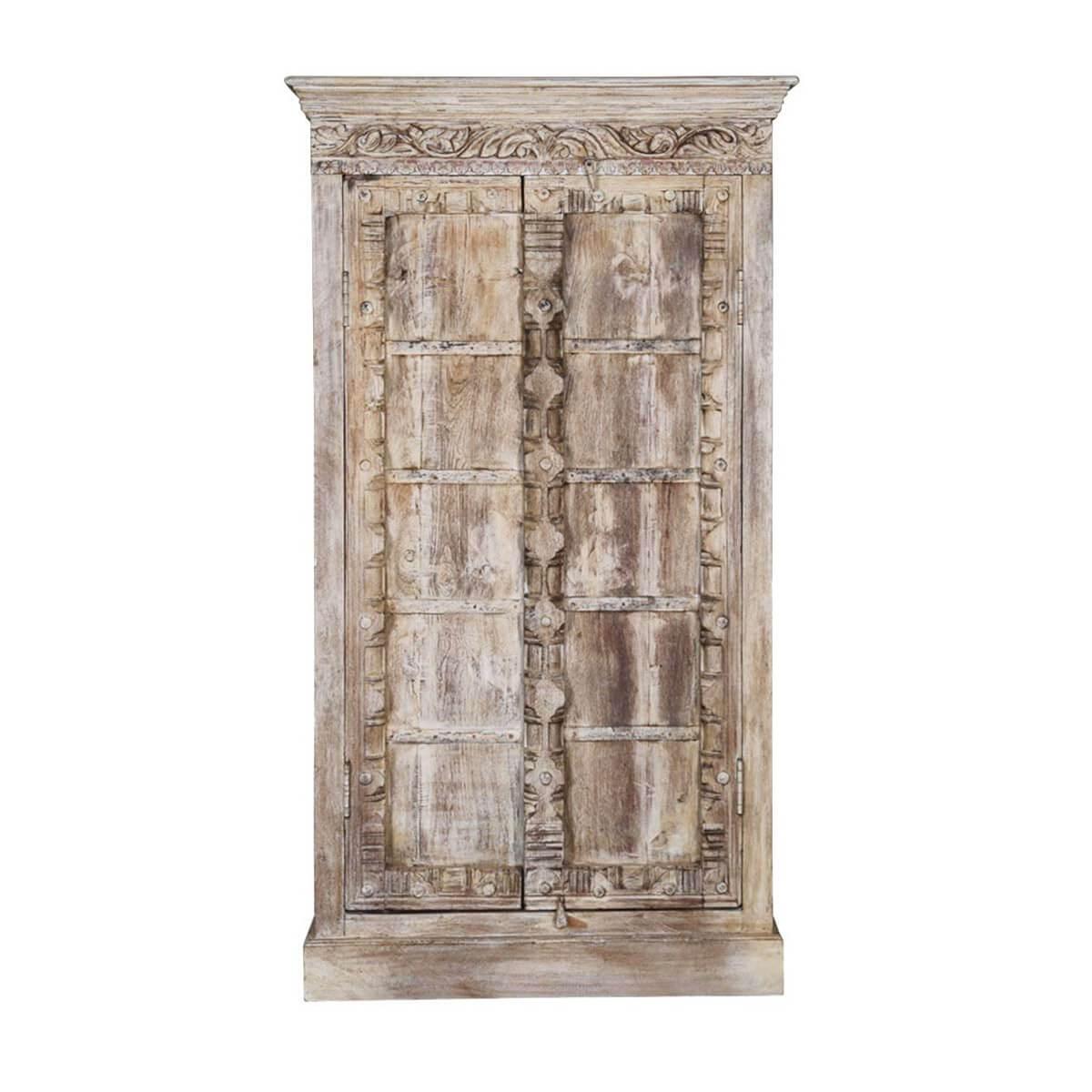 Antique white rustic reclaimed wood double door armoire