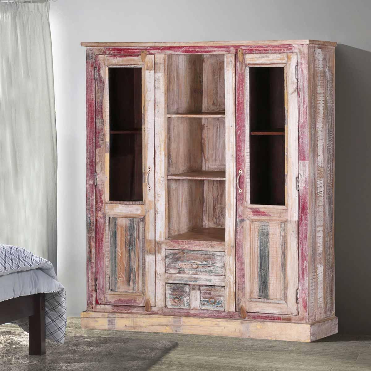 Ridge Reclaimed Wood 2-Door Rustic Display Cabinet