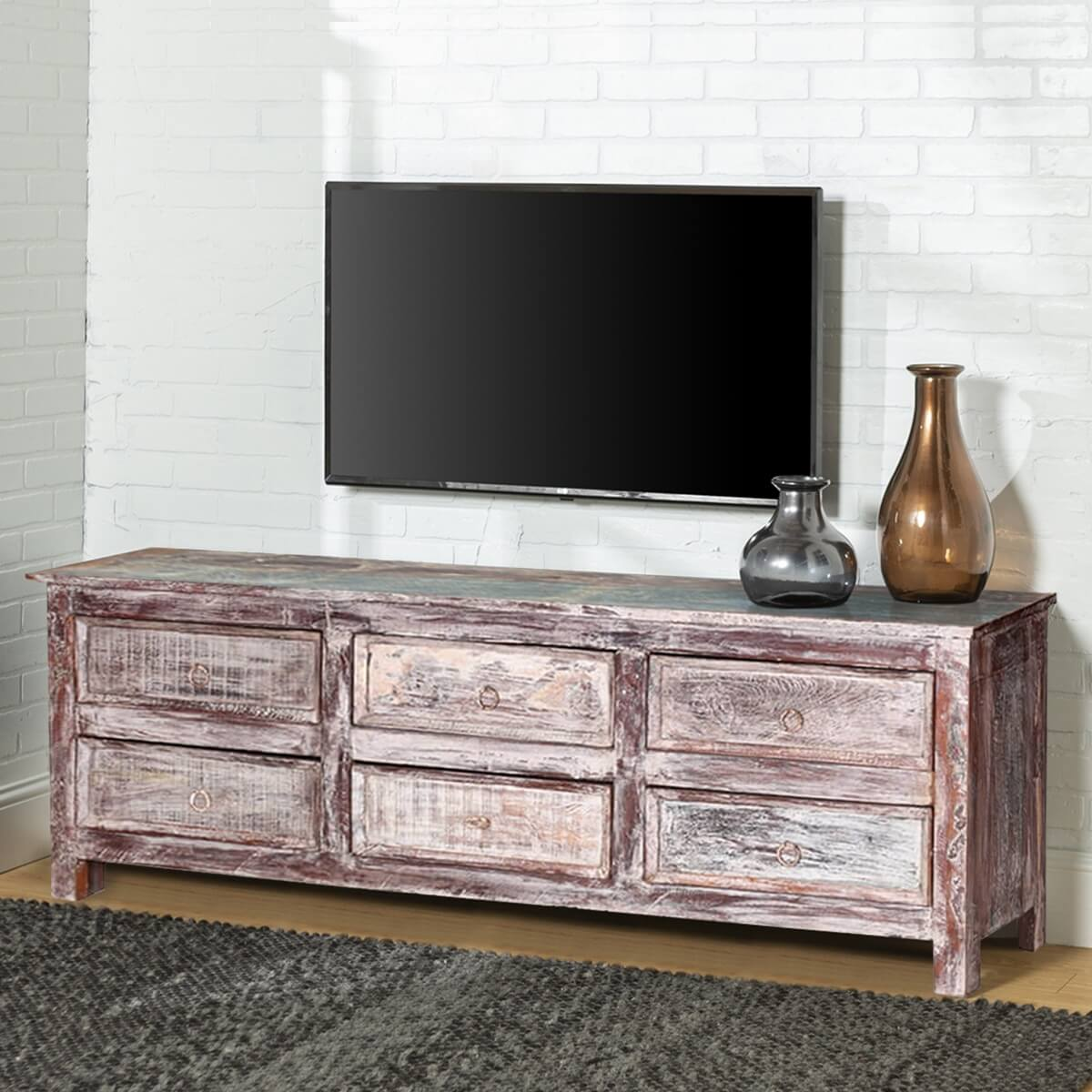 tempe handcrafted 6drawer reclaimed wood tv stand media console