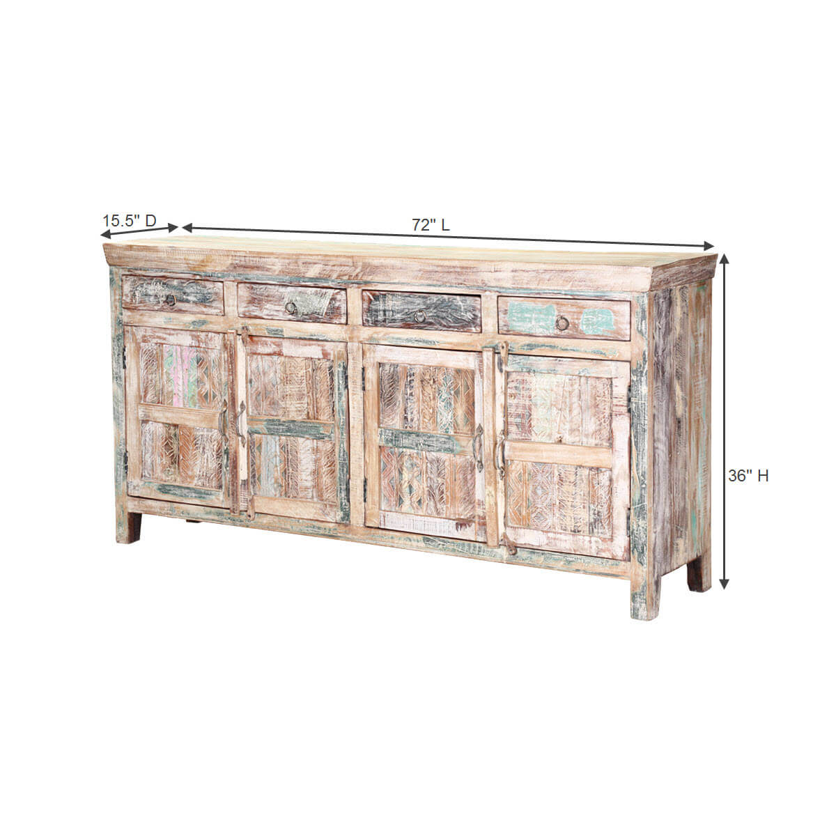 ... Tucson 72 Handcrafted Reclaimed Wood 4 Drawer Rustic Sideboard ...
