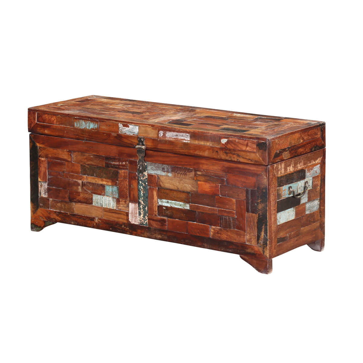 San Clarita Rustic Reclaimed Wood Storage Trunk Coffee Table