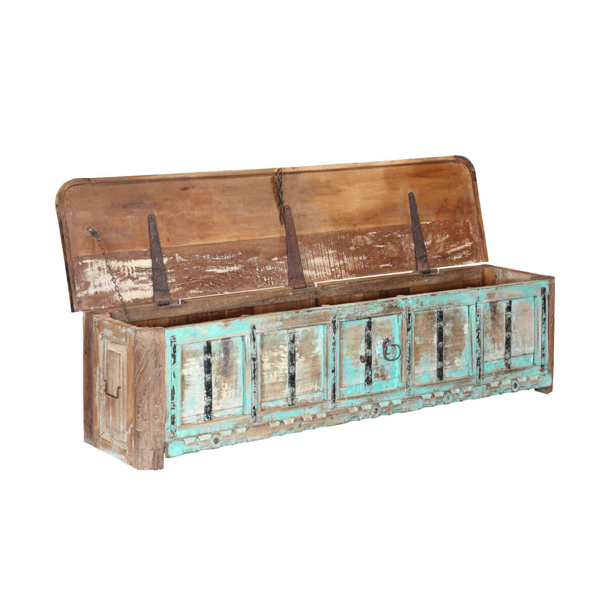 Turquoise reclaimed wood 72 coffee table chest rustic turquoise reclaimed wood 72 coffee table chest geotapseo Choice Image