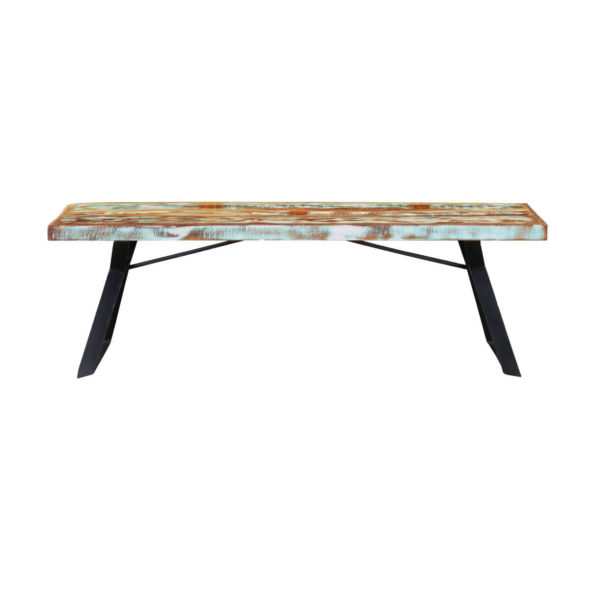 ... Rainbow 59 Handcrafted Reclaimed Wood Industrial Dining Bench ...
