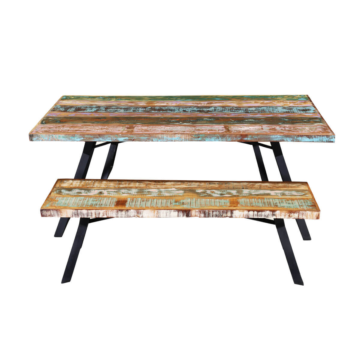 Rainbow Reclaimed Wood Industrial Dining Table W Benches Set