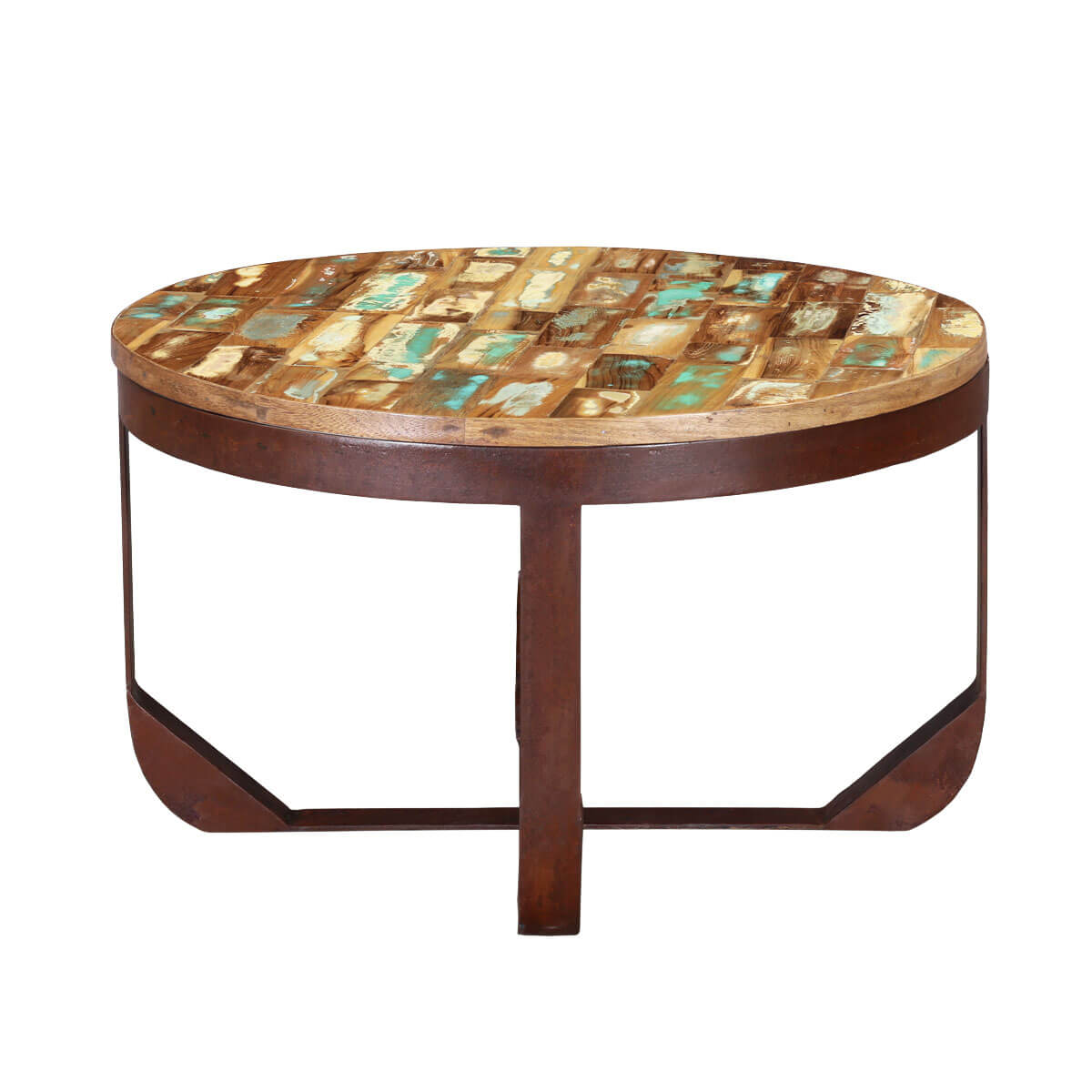 Table Round Industrial Coffee Table Gratifying Ballard: Reclaimed Wood Industrial Round Coffee Table