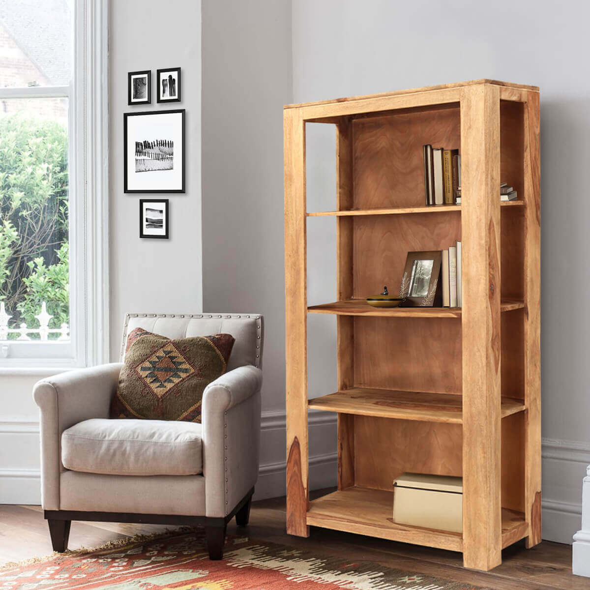 "Dallas 69"" Natural Solid Wood Open Shelves Rustic Bookcase"