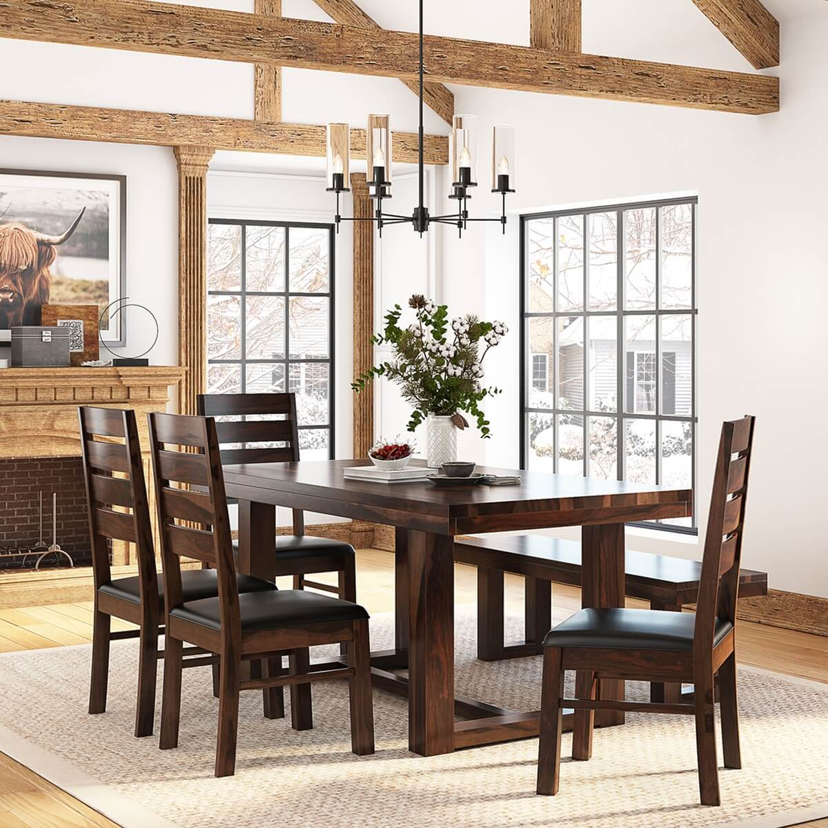 Wood Bench Dining Table: Galveston Rustic Solid Wood 6-Piece Dining Table Chair Set