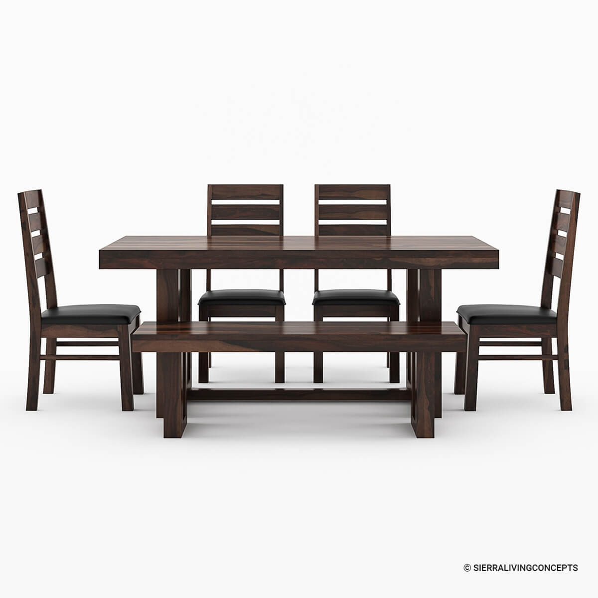 Galveston Rustic Solid Wood 6 Piece Dining Table Chair Set With Bench