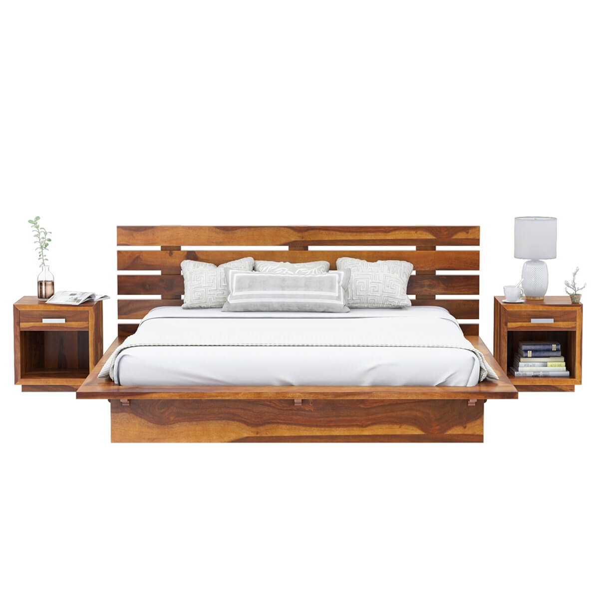 Bedroom Sets Real Wood handcrafted solid wood platform 6pc bedroom set