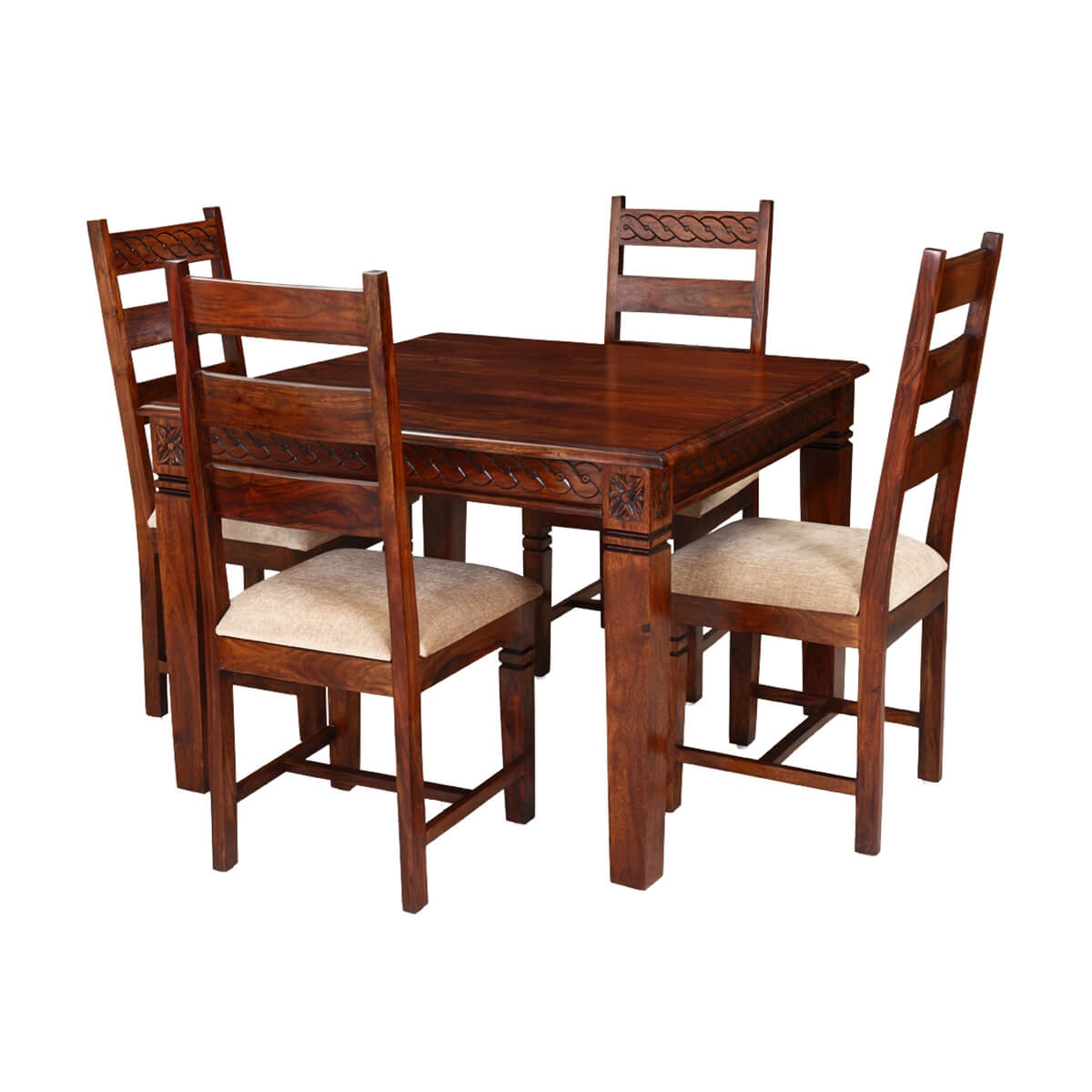 Handcrafted solid wood 5pc square dining table and chair set for Square dinette sets