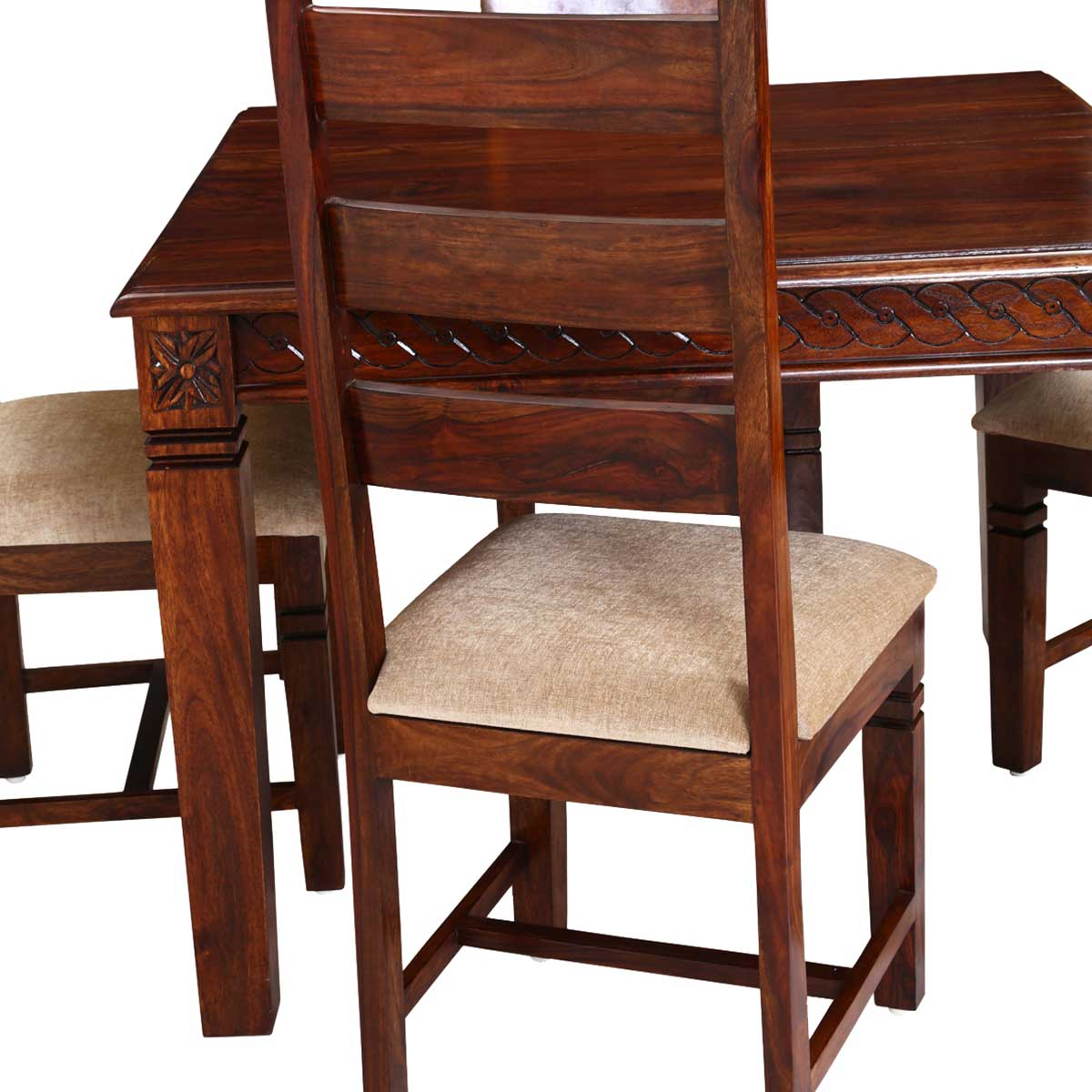 Handcrafted solid wood 5pc square dining table and chair set for Solid wood dining table sets