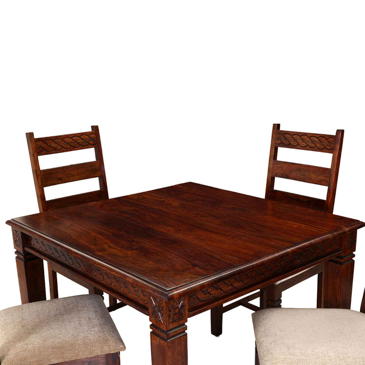 Wooden Dining Table And Chairs: Handcrafted Solid Wood 5pc Square Dining Table And Chair Set