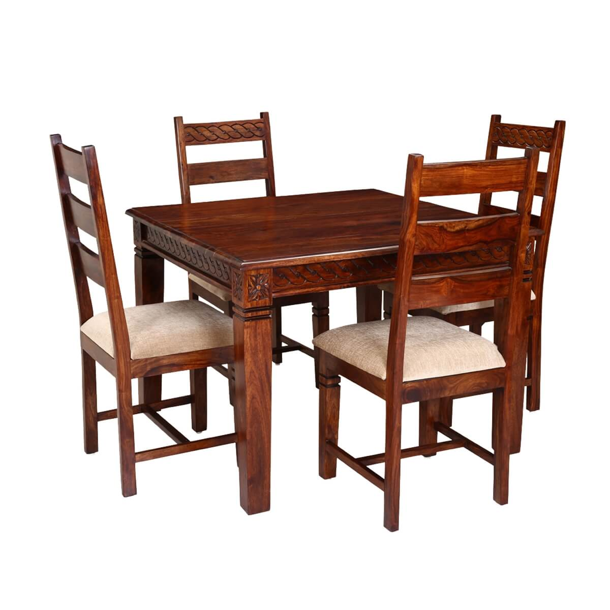 Dining Table Square: Handcrafted Solid Wood 5pc Square Dining Table And Chair Set