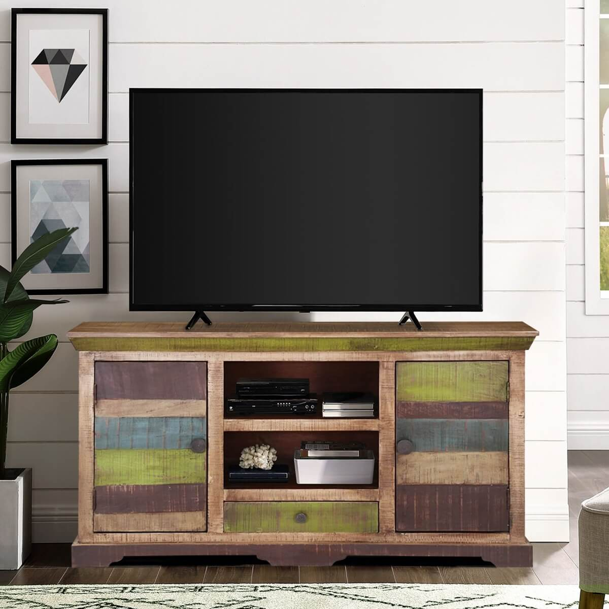 Modern 59 Rustic Mango Wood Sideboard Freestanding TV Media Cabinet