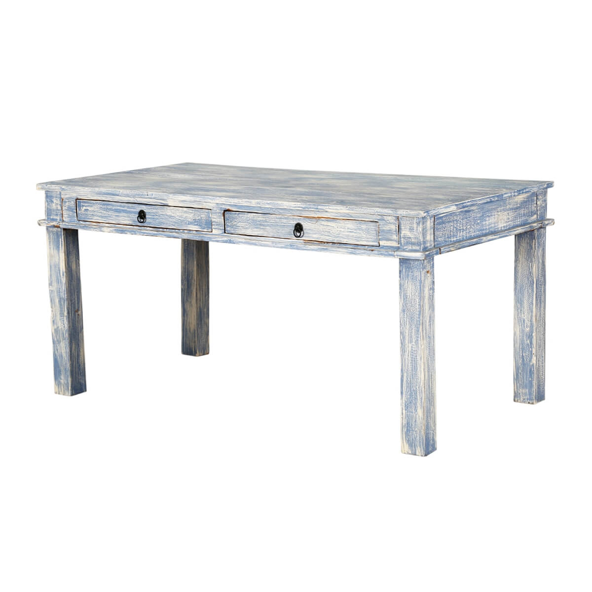 Distressed Blue Reclaimed Wood Kitchen Dining Table