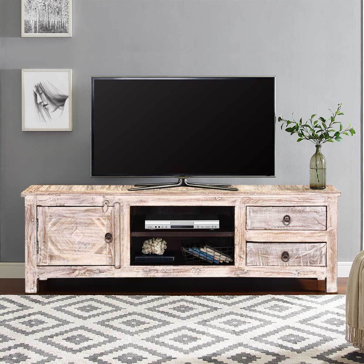 55 Winter White Reclaimed Wood Tv Console Media