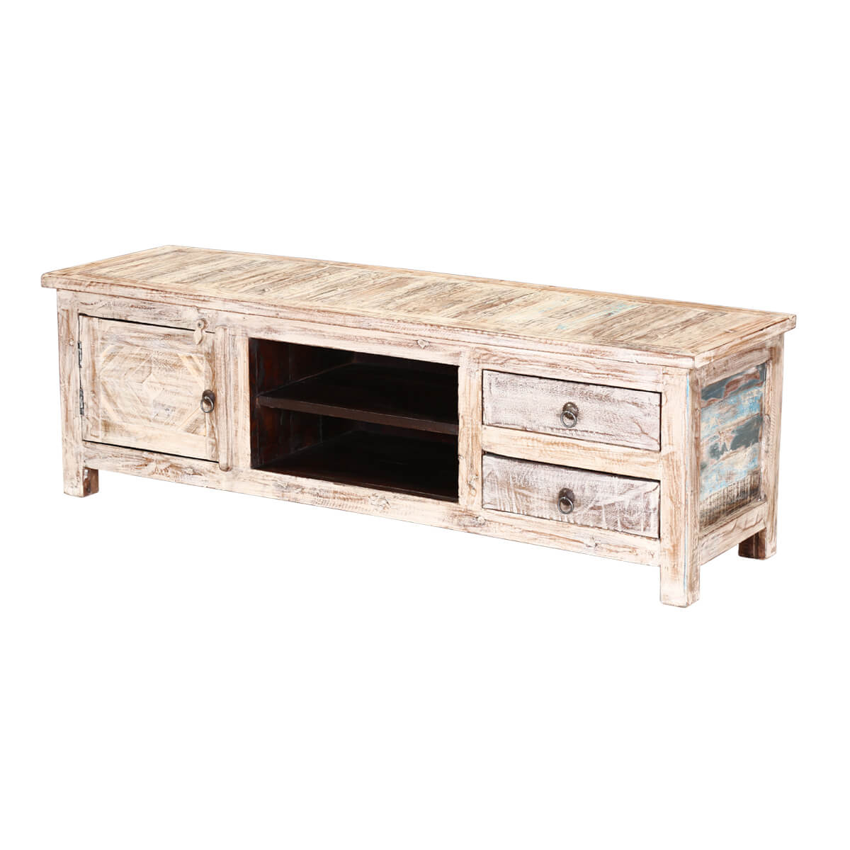 55 Winter White Reclaimed Wood Tv Console Media Cabinet