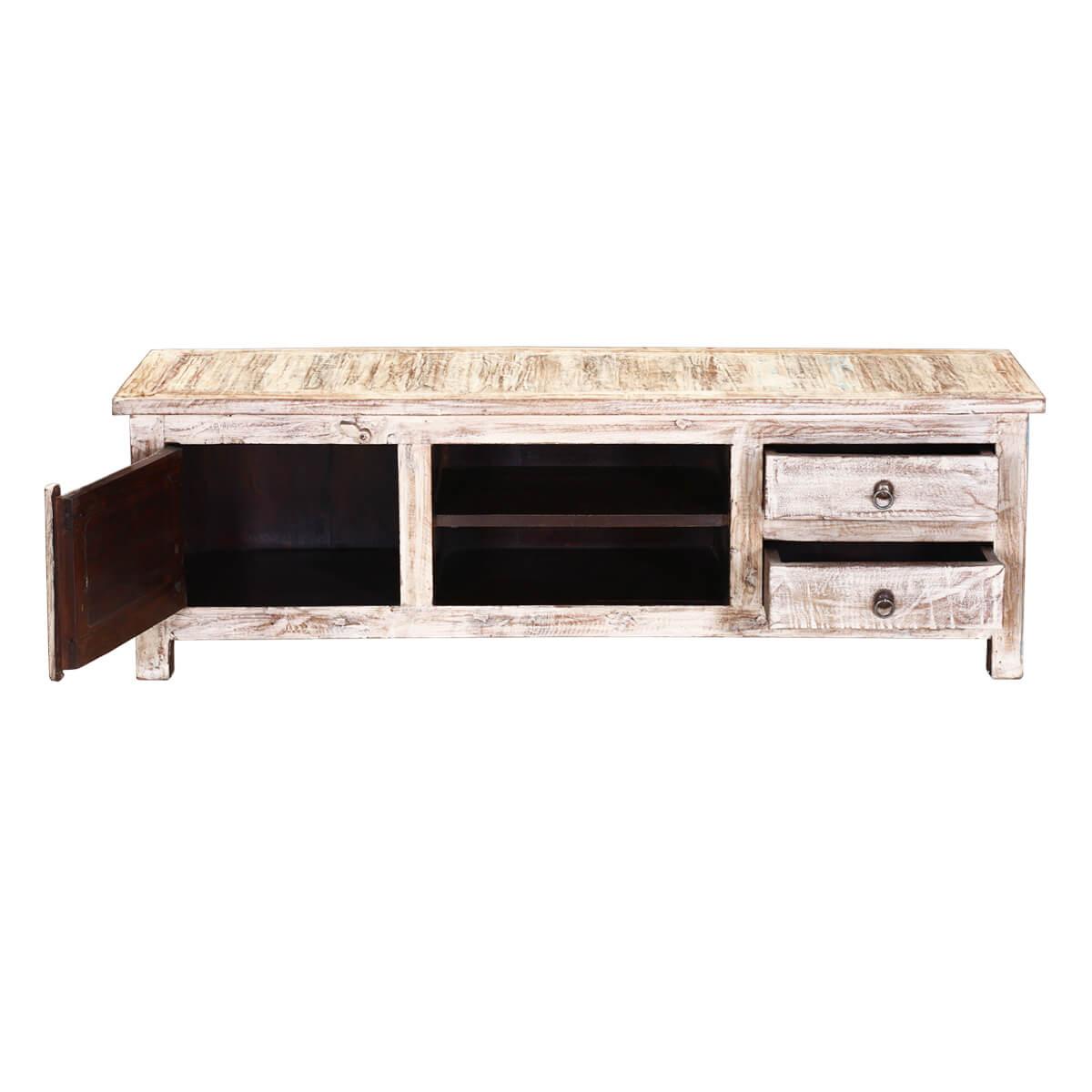 ... Appalachian 55 Winter White Reclaimed Wood TV Console Media Cabinet ...