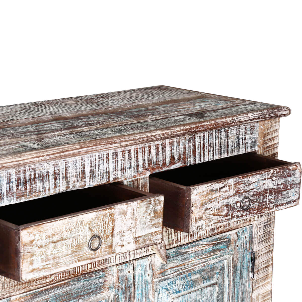 Winter White Rustic Reclaimed Wood 4 Drawer Sideboard Cabinet