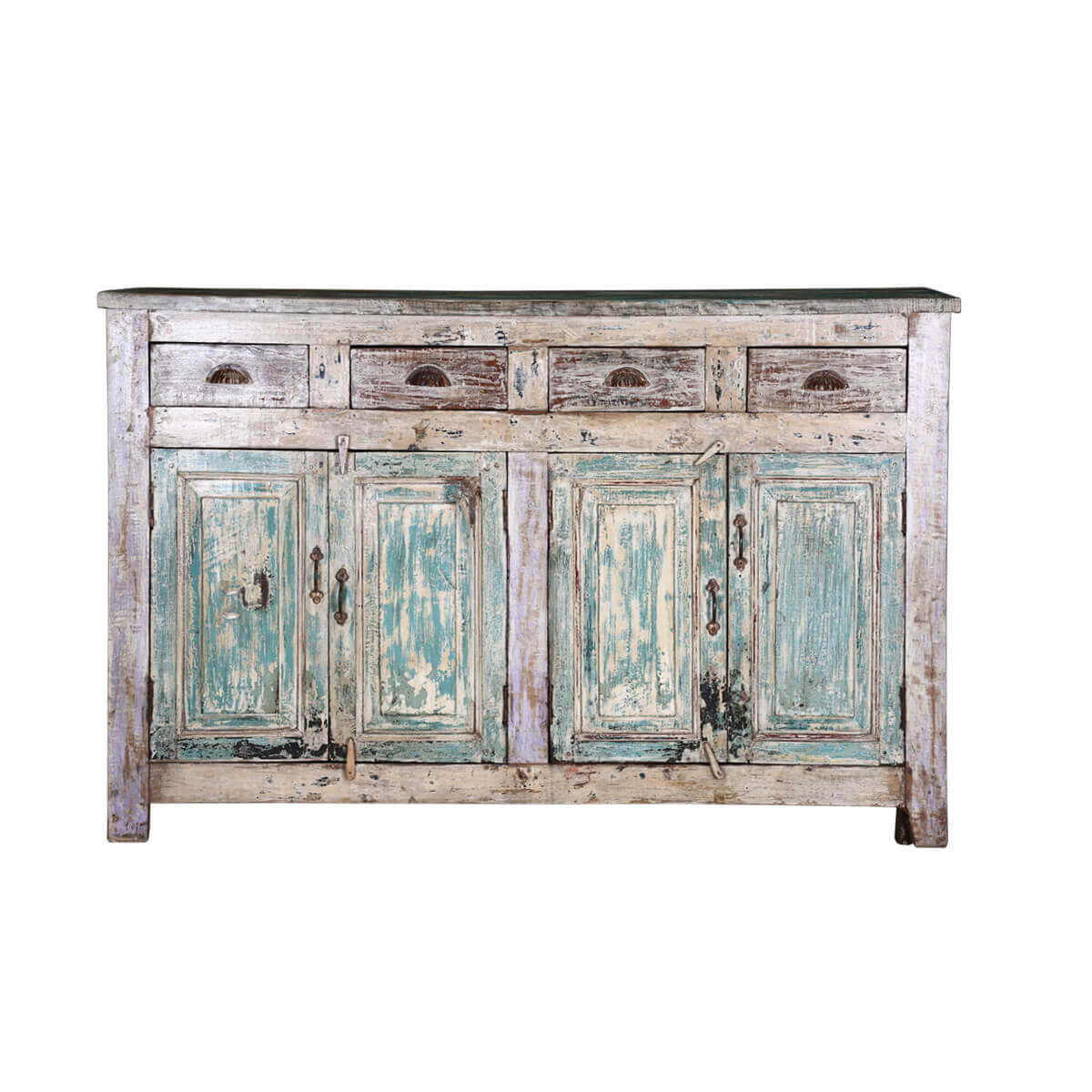 Winchester Distressed Rustic Reclaimed Wood 4 Drawer Sideboard