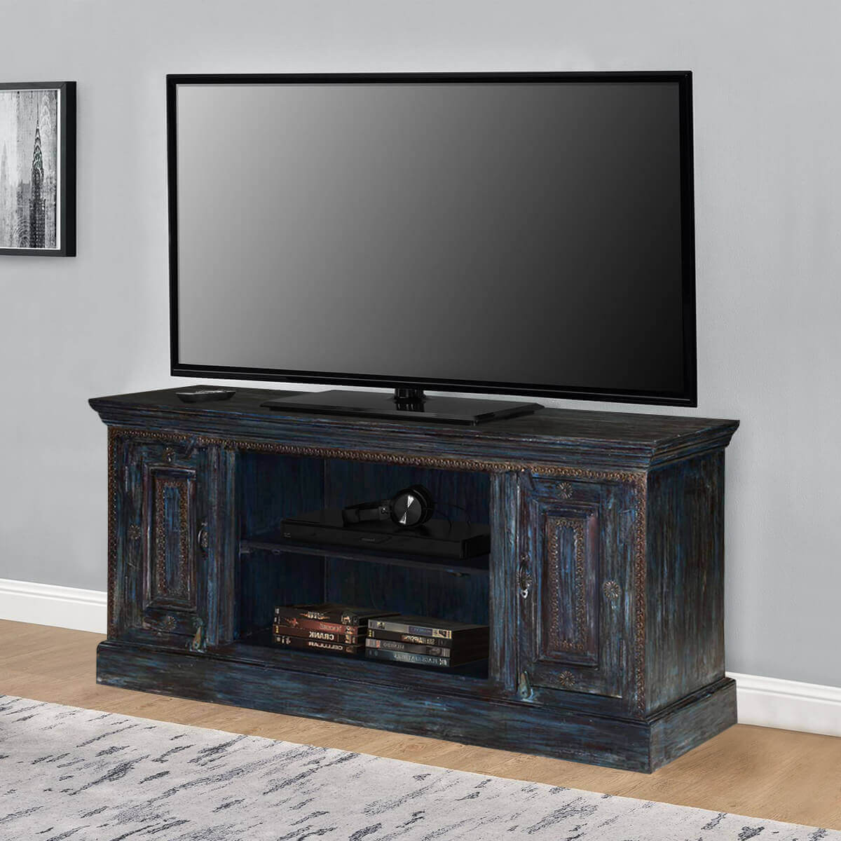 Wood Tv Stands Product ~ Shaker midnight reclaimed wood rustic tv stand media cabinet