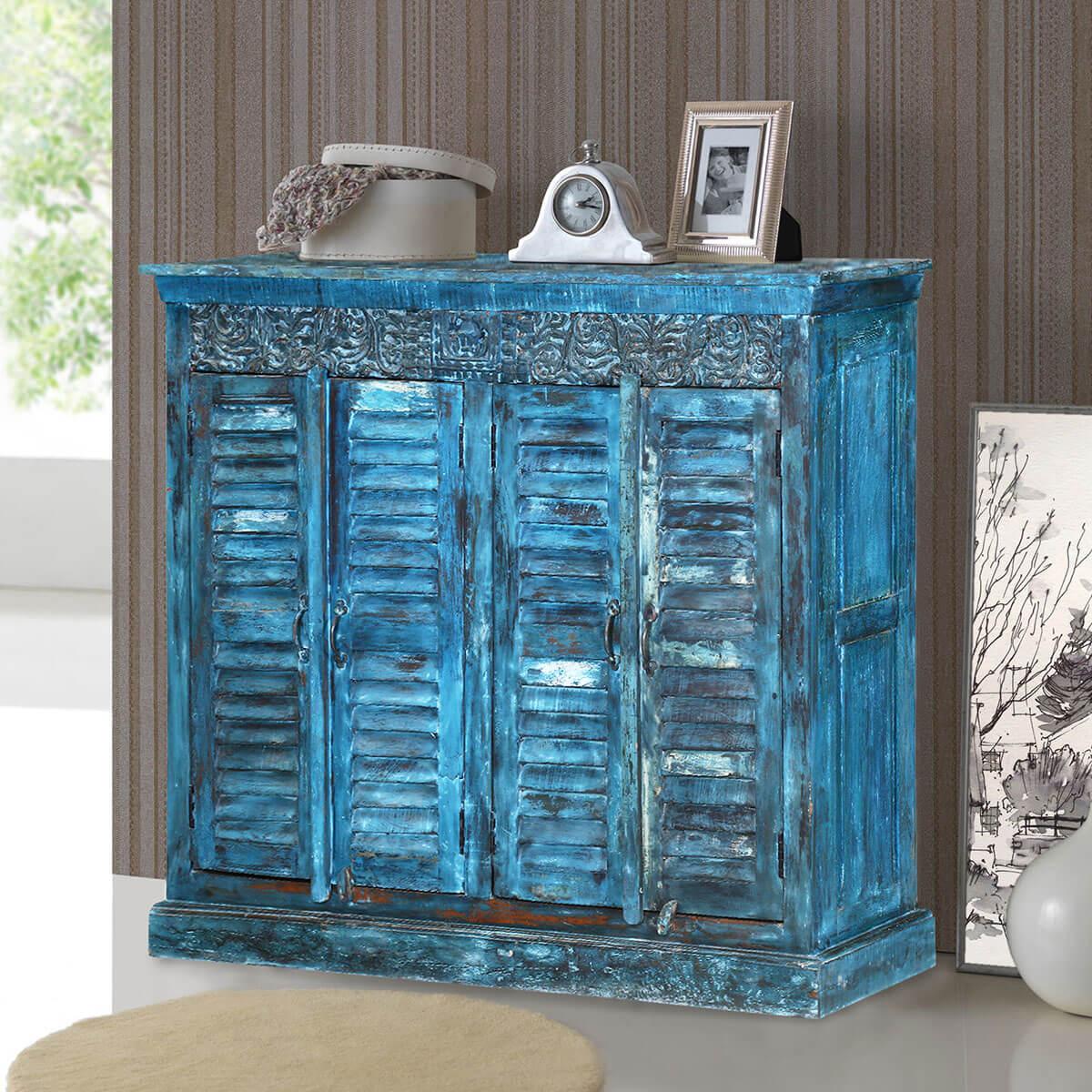 Midnight Blue Reclaimed Wood Shutter Door Sideboard Cabinet - Tucson 72
