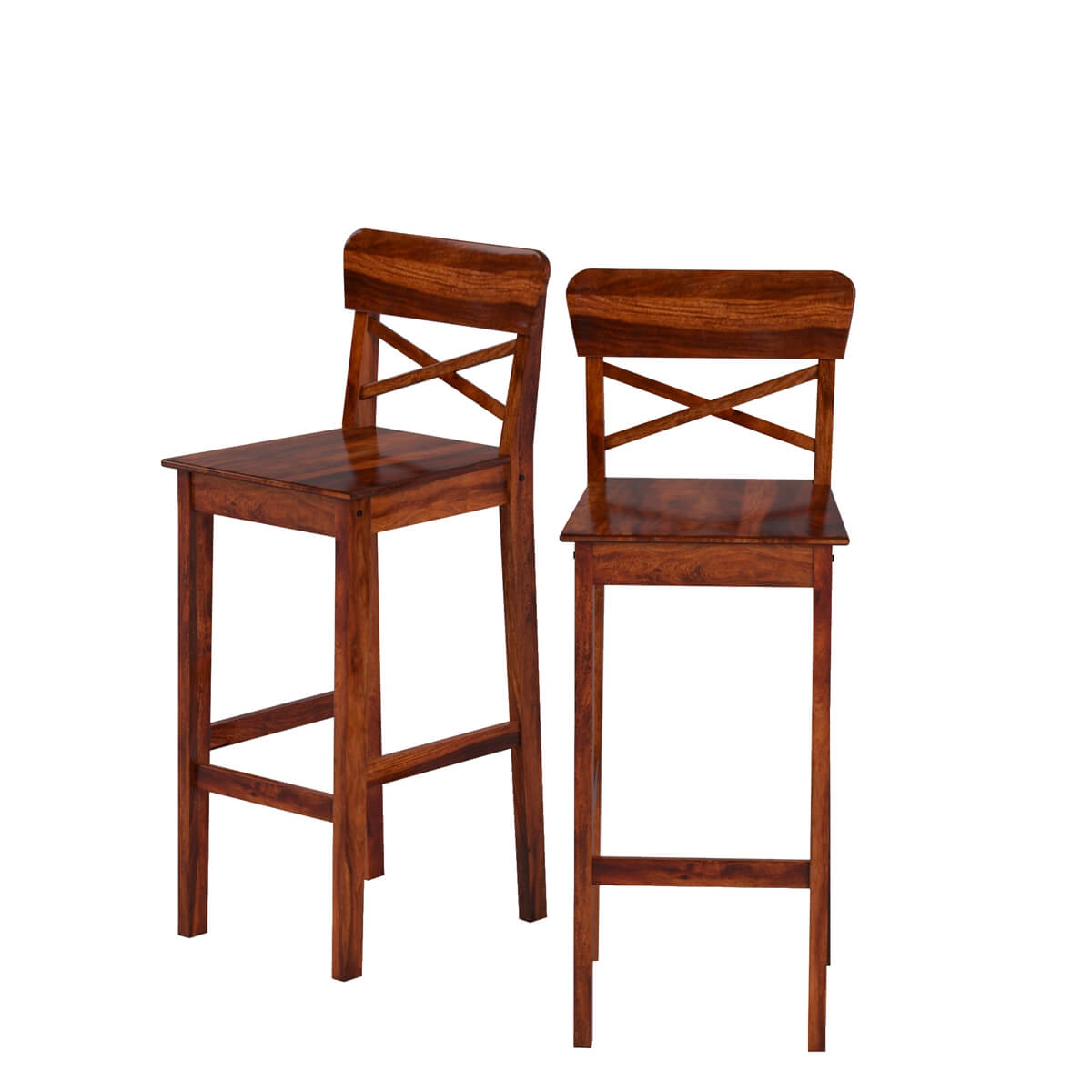 Ranch Solid Wood Tall Rustic Bar Chair Set of 2