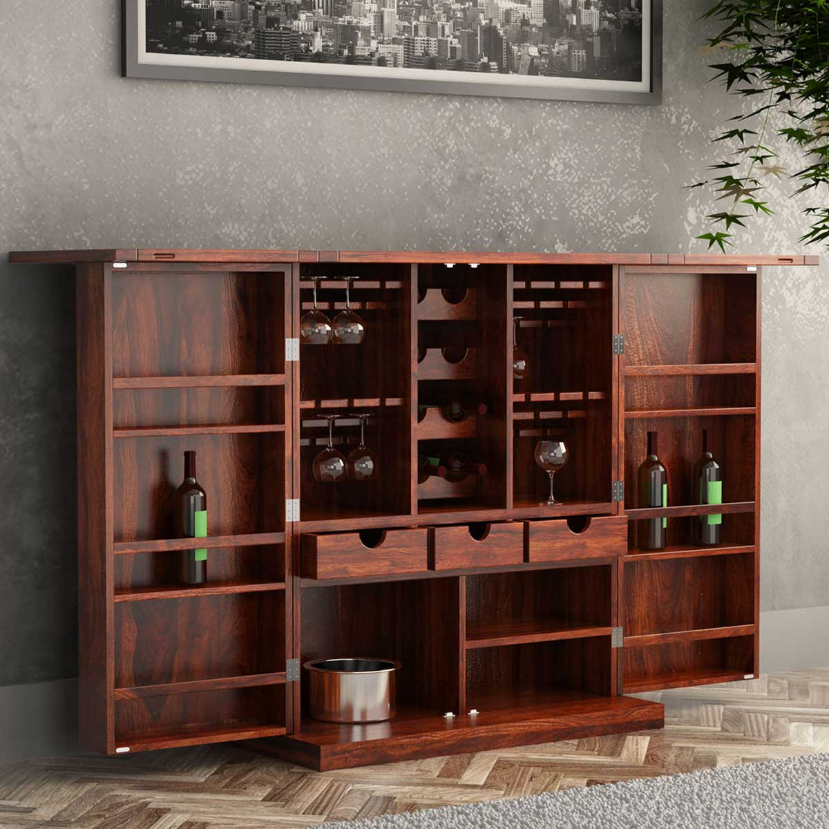 Wood Home Bar Furniture: Richmond Rustic Solid Wood Expandable Bar Cabinet With